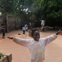 Girl waving arms